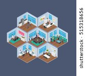 isometric office vector... | Shutterstock .eps vector #515318656