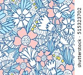 blue doodle flowers seamless... | Shutterstock .eps vector #515323702