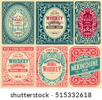 old cards set with floral... | Shutterstock .eps vector #515332618