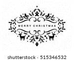 black and white christmas... | Shutterstock .eps vector #515346532