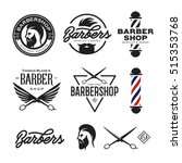 barber shop badges set. barbers ... | Shutterstock .eps vector #515353768