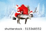 santa claus with reindeer and... | Shutterstock . vector #515368552