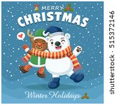 vintage christmas poster design ... | Shutterstock .eps vector #515372146