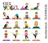 kids yoga vector icons set.... | Shutterstock .eps vector #515398156