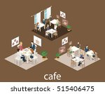 isometric interior of coffee... | Shutterstock . vector #515406475