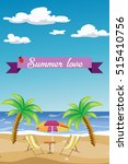 summer background with palm... | Shutterstock .eps vector #515410756