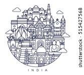 india detailed skyline. travel... | Shutterstock .eps vector #515427568