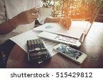business woman analyzing graph... | Shutterstock . vector #515429812