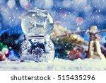 snow falling on christmas... | Shutterstock . vector #515435296