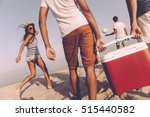 friends on the beach. rear view ... | Shutterstock . vector #515440582