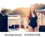 happy woman at a pool christmas ... | Shutterstock . vector #515441236