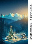 winter festive mountain... | Shutterstock . vector #515443216