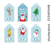 christmas tag  santa claus and... | Shutterstock .eps vector #515445448