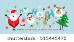 christmas  santa claus laugh ho ... | Shutterstock .eps vector #515445472