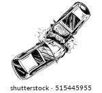 hand drawn car crash... | Shutterstock .eps vector #515445955