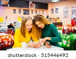 two young women smiling and... | Shutterstock . vector #515446492