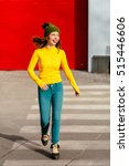 beautiful and young girl step... | Shutterstock . vector #515446606