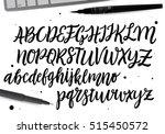 calligraphic vector script font.... | Shutterstock .eps vector #515450572