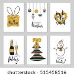 christmas greeting card set.... | Shutterstock .eps vector #515458516