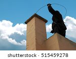 Chimney sweeper on the roof of...