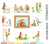 happy family doing things... | Shutterstock .eps vector #515466352