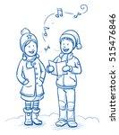 happy children  girl and boy... | Shutterstock .eps vector #515476846