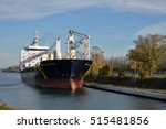 Small photo of Port Colborne, Ontario, Canada - November 10, 2016. The Sedna Desgagnes general cargo lake freighter navigating south up the Welland Canal before passing under the Main Street lift bridge