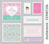 cute card templates set in... | Shutterstock .eps vector #515487106