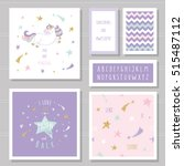 cute cards with unicorn and... | Shutterstock .eps vector #515487112