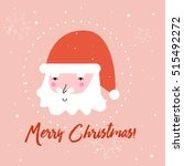 merry christmas card with santa ... | Shutterstock .eps vector #515492272