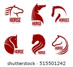 Stock vector set of horse head graphic logo templates vector illustration on white background set of black and 515501242