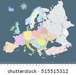 europe colorful political map... | Shutterstock .eps vector #515515312