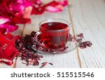 red hot hibiscus tea in a glass ... | Shutterstock . vector #515515546