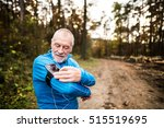 senior runner in nature with... | Shutterstock . vector #515519695