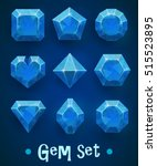 set of realistic blue gems of... | Shutterstock .eps vector #515523895
