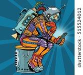 retro robot astronaut in the... | Shutterstock .eps vector #515524012