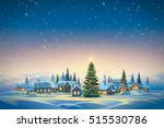 winter festive landscape with... | Shutterstock . vector #515530786