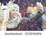 christmas selfie with... | Shutterstock . vector #515542696