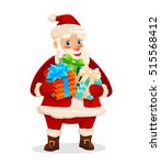 santa claus with gift boxes....   Shutterstock .eps vector #515568412