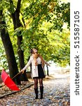 Young Brunette Woman Walking...