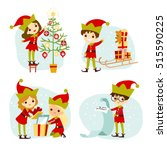 elves santa's helpers cartoon... | Shutterstock .eps vector #515590225