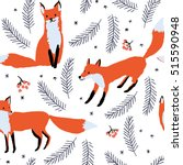 red foxes  berries and spruce... | Shutterstock .eps vector #515590948