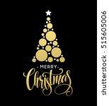 vector golden christmas tree... | Shutterstock .eps vector #515605006