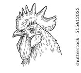 hand drawn rooster head vector... | Shutterstock .eps vector #515612032