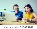 worried couple paying bills... | Shutterstock . vector #515615782