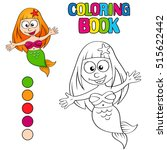 coloring book with cartoon... | Shutterstock .eps vector #515622442
