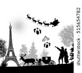people in paris with santa... | Shutterstock .eps vector #515654782