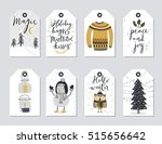 christmas tags set  hand drawn... | Shutterstock .eps vector #515656642