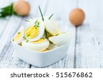 portion of halved eggs as... | Shutterstock . vector #515676862