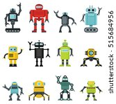 robots set in cartoon flat... | Shutterstock .eps vector #515684956